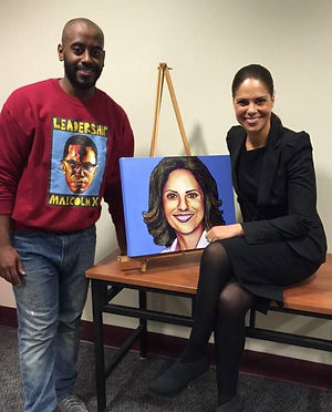 RIT JLS ART, Johnnie Lee Smith, Expressions of King's Legacy 2015, portrait painting, leadership presenting painting to Soledad O'Brien