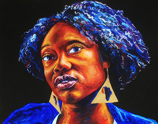 African Pride: Acrylic Painting Replica on Panel