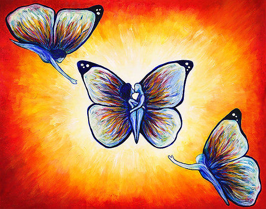 Butterfly Love: Acrylic Painting Replica on Panel