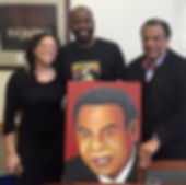 Presenting portrait painting to Andrew Young