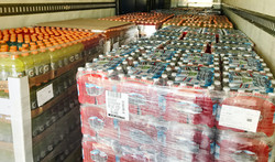 Thousands of drinks on pallets