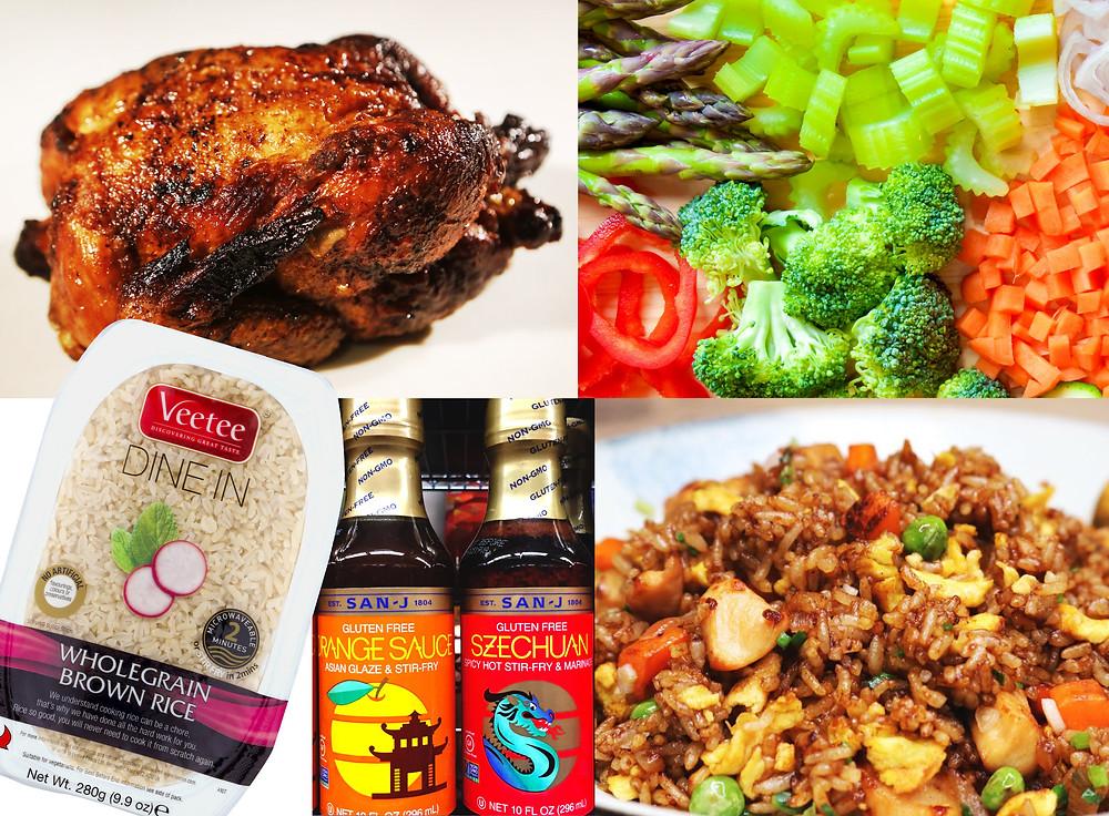 rotisserie chicken, rice, stir-fry