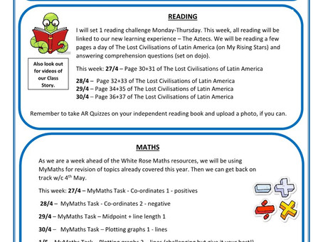 Year 5 - Home Learning 27th April