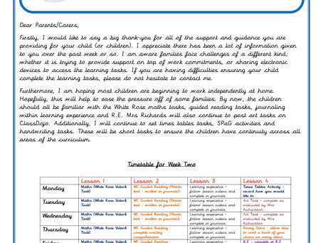 Year 4 Home Learning Weekly Letter