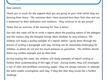 Year 6 - Home Learning Weekly Letter 27th April