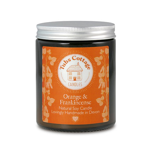 Orange & Frankincense soy wax candle with pure essential oils