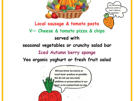 Census Day Menu - Thursday 3rd October