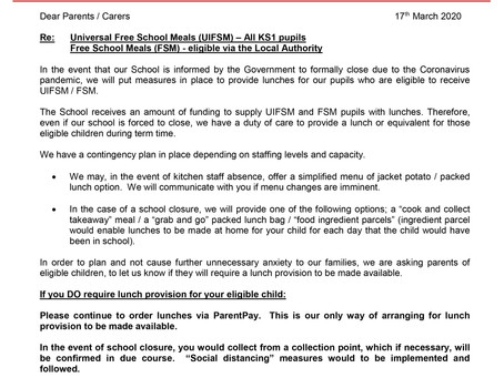 In the event of reduced kitchen staff / school closure - communication for KS1 & Free School Meals.