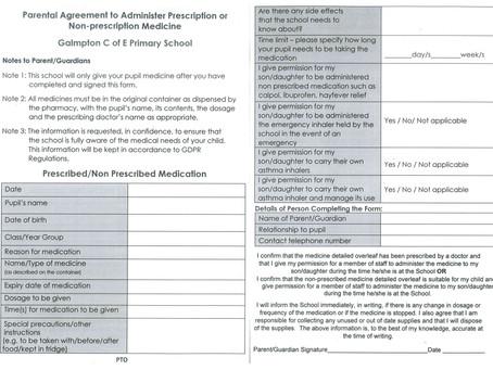 Parental Agreement to Administer Prescription or Non-prescription Medicine
