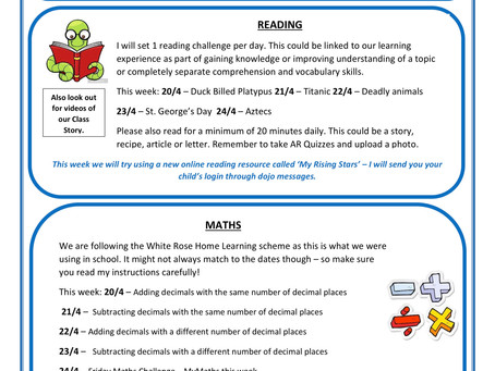 Year 5 Home Learning Weekly Letter