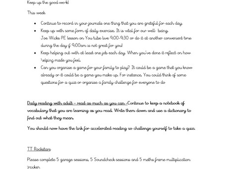 Year 4 - Home Learning 27th April