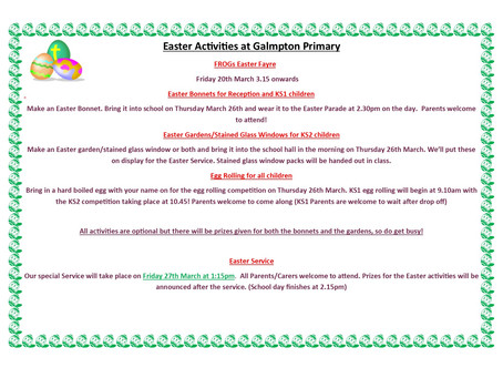 Easter Activities at Galmpton Primary