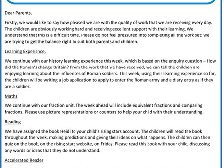 Year 3 - Home Learning Letter 27th April