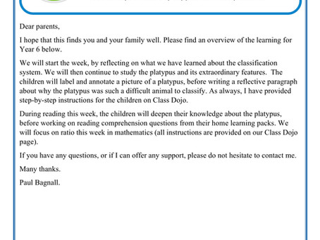 Year 6 Home Learning Weekly Letter