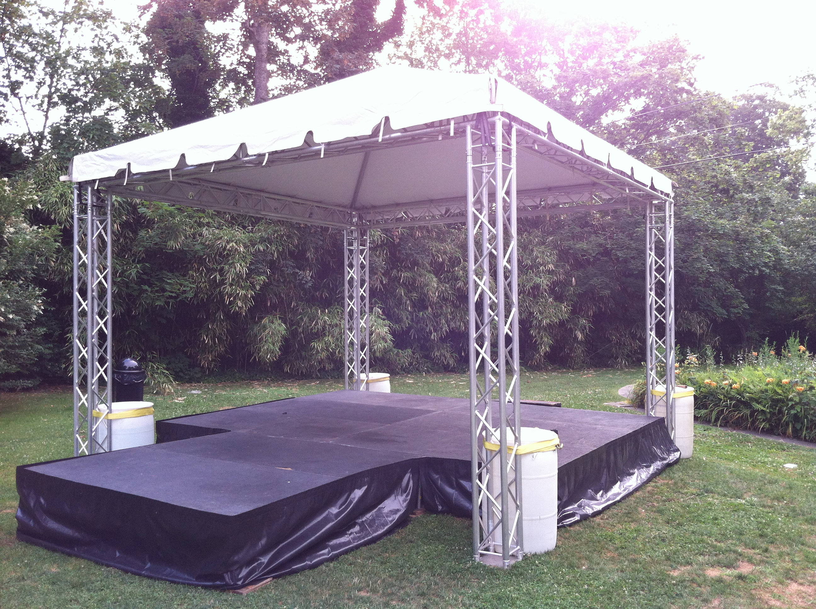 For Sale Is A Used 16x16 Stage Deck With Global Truss System And Fiesta Frame Tent Top This Designed Small Events Where Quick