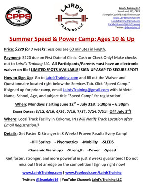 Summer Speed Camp Registration