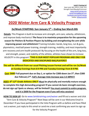 2020 Winter Arm Care & Velo Program Sign Ups Live Now!!!!