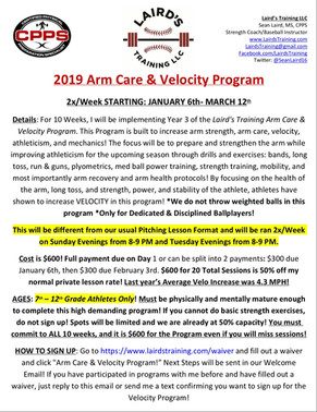 2019 Arm Care & Velocity Program Signups Live NOW!