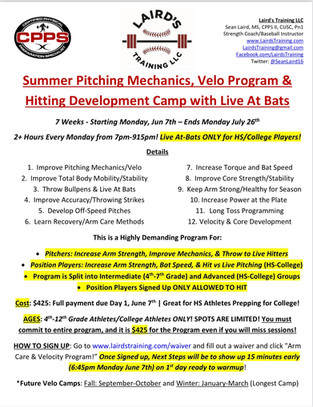 Summer Pitching Mechanics, Velo Program & Hitting Development Camp with Live At Bats