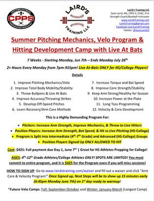 Summer Pitching Mechanics, Velo Program & Hitting Development Camp with Live At Bats