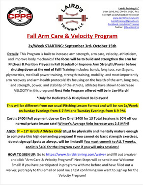 Fall Arm Care & Velo Program Signups Live NOW
