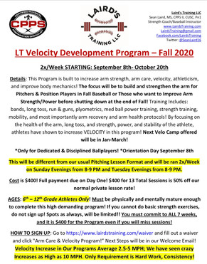 Fall Arm Care and Velocity Program