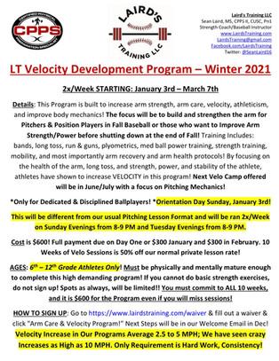 LT Velocity Development Program Winter 2021