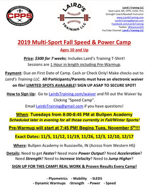 2019 Multi-Sport Fall Speed & Power Camp