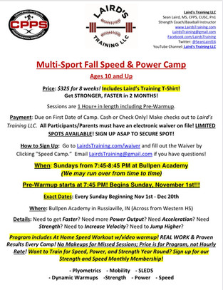 FALL SPEED AND POWER CAMP