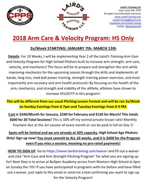 2018 Arm Care & Velocity Program - Sign Ups Now Open