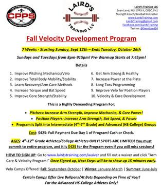 2021 Fall Velo Development Program