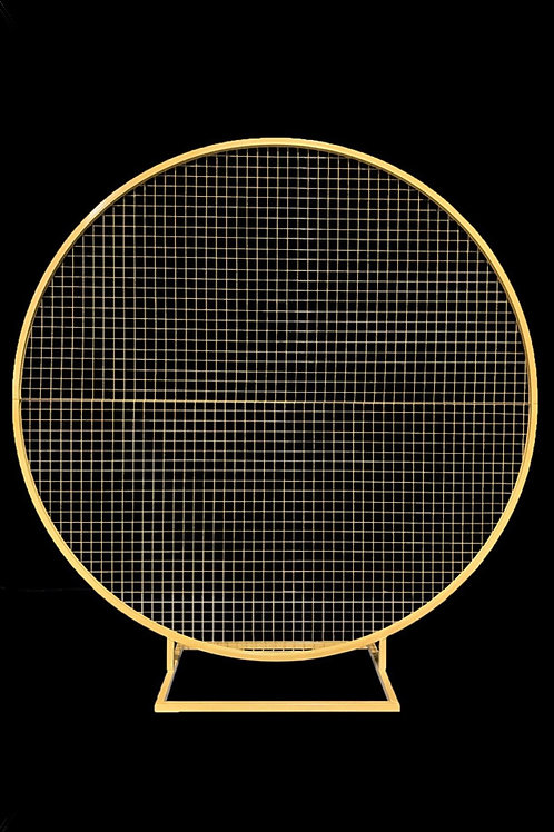 Round Mesh Balloon and flower frame, comes in Gold and White 190cmD