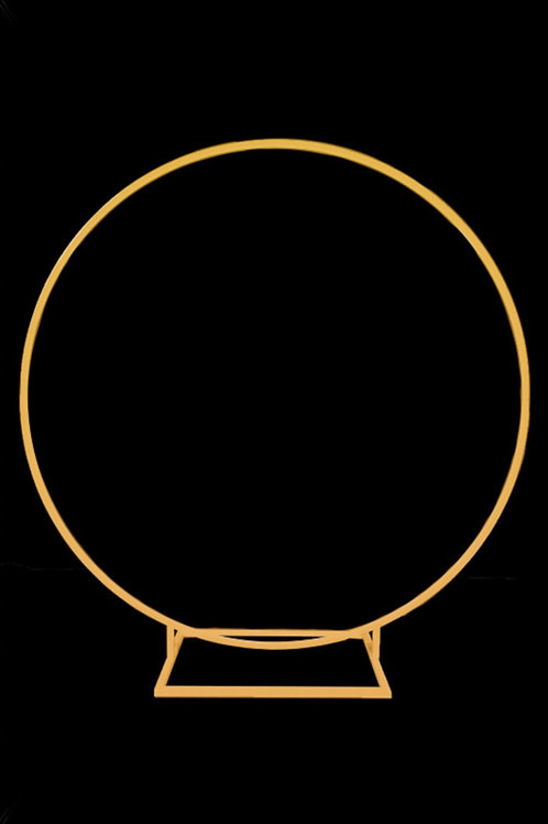 Round hoop balloon and flower frame, comes in both gold and white. 190cmD
