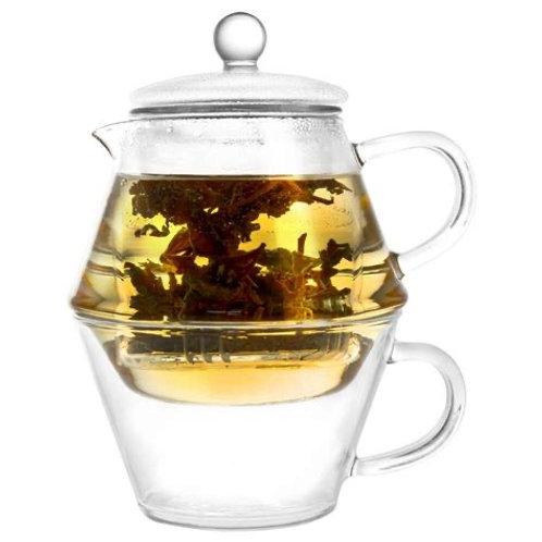 Glazen theekannetje met kopje - Tea for One