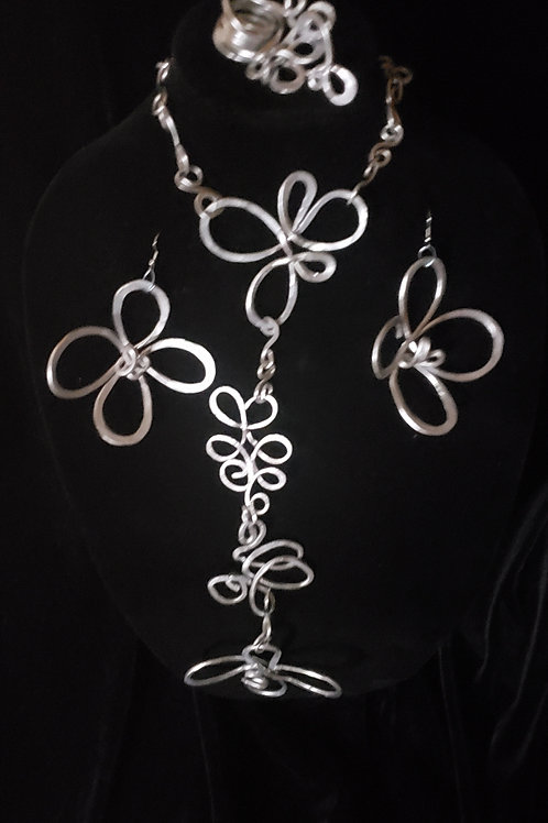 Silver Flower Set with Matching Bracelet