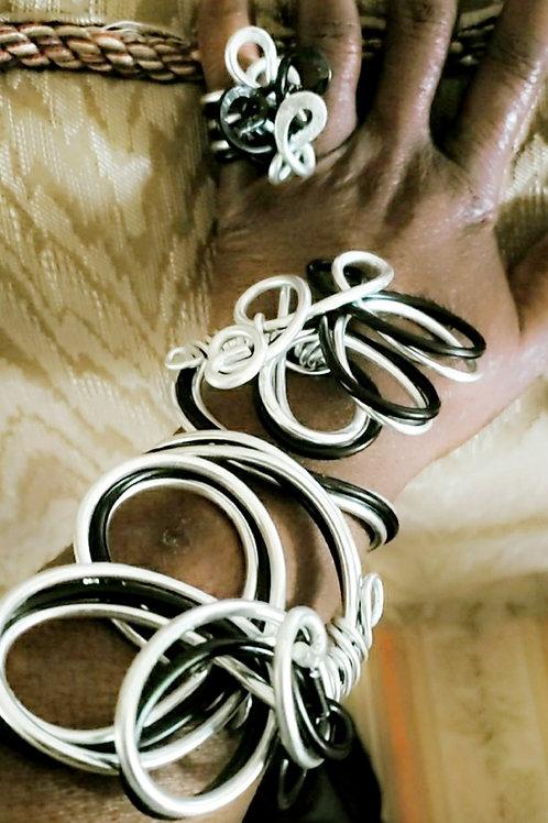 Silver & Black Branch Bracelet