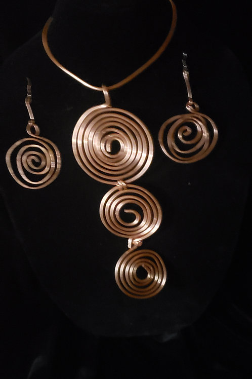 Copper Swirl Necklace with Matching Earing