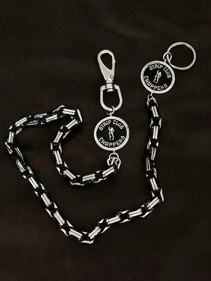 SCC Silver w/Black Wallet chain