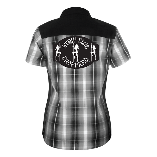Women's SCC Black Plaid Mechanic-Style Shop Shirt