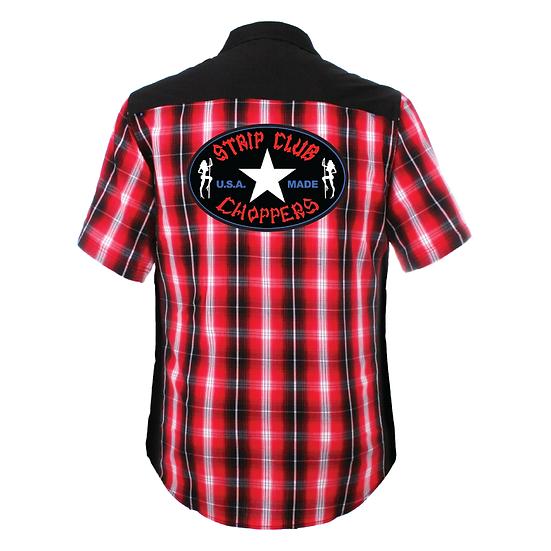 Men's Short Sleeve SCC Red/Black/White Plaid Mechanic Style Shop Shirt