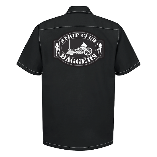 Men's Short Sleeve SCB Bagger Black Mechanic Style Shop Shirt