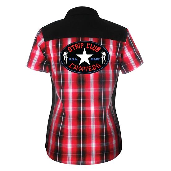 Women's SCC Red Plaid Mechanic-Style Shop Shirt