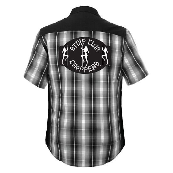 Men's SCC Short Sleeve Black/White/Gray Plaid Shop Shirt
