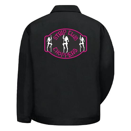 Women's SCC Pink Theme Hip-Length Black Shop Jacket