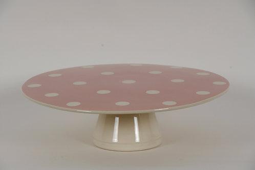 Présentoir à gâteaux GROS POIS pois rose 26cm