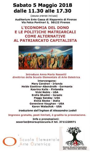 [it] Firenze 5 maggio 2018: Economia del dono e il matriarcato
