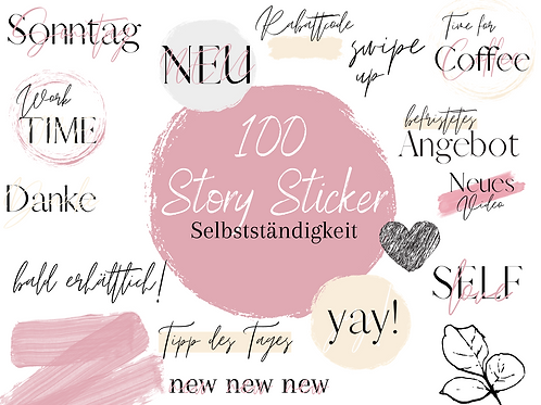 """100 Story Sticker """"Business"""" Pink Edition"""