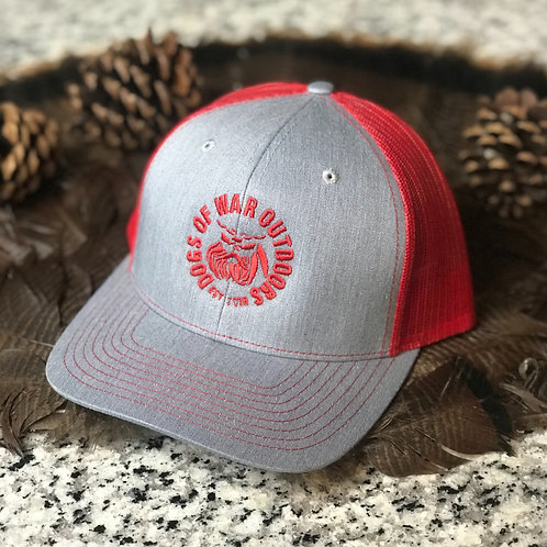Richardson Trucker Cap - Heather Grey/Red