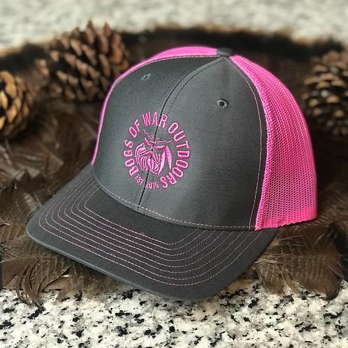 Richardson Trucker Cap - Charcoal/Pink