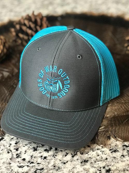 Richardson Trucker Cap - Charcoal/Neon Blue